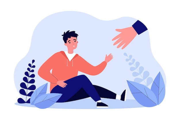 Huge hand offering help to boy sitting on ground. fallen male character reaching for help flat vector illustration. assistance, community, friendship concept for banner, website design or landing page