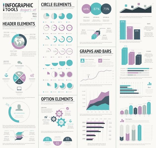 Huge infographic vector elements designers set