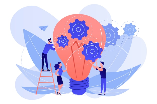 Huge lightbulb and business team holding gears. teamwork and collaboration, goal achievement, colleagues and workforce concept on white background.