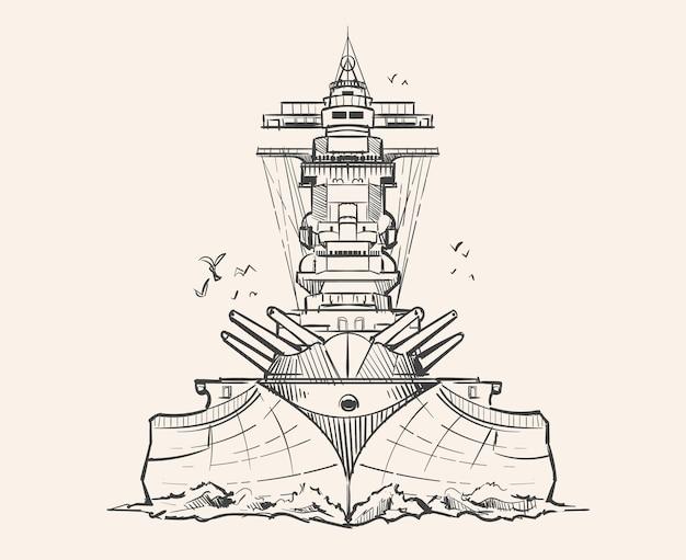 Huge military battleship yamato sketch