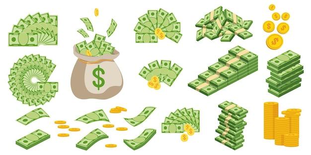 紙幣の巨大なパック。現金手形とバンドルします。銀行にお金を保管する。預金、富、蓄積および相続。フラットベクトル漫画のお金のイラスト。白い背景で隔離のオブジェクト。