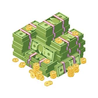 달러 현금 돈과 황금 동전 벡터 일러스트 레이 션의 거 대 한 더미. 금융 현금 스택 돈 지폐와 황금 동전