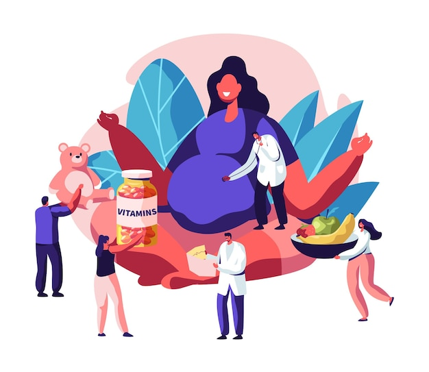 Huge pregnant woman with big belly sitting in lotus pose surrounded with doctors. cartoon flat  illustration