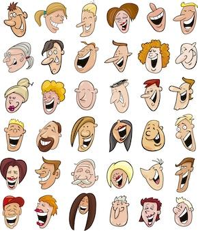 웃는 사람들의 거대한 세트 얼굴