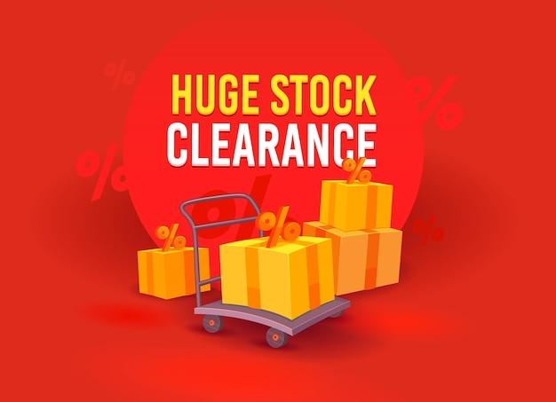 Огромная распродажа, рекламный баннер с коробками и знаками процента на ручной тележке. дизайн шаблона брендинга для скидки на покупки