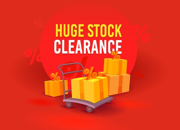 Huge stock clearance, sale advertising banner with boxes and percent signs on manual trolley. branding template design for shopping discount