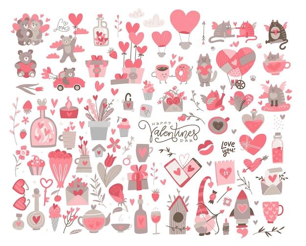 巨大なバレンタインセット。多くの様々なロマンチックなオブジェクト