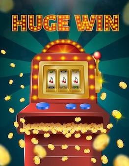 Huge win banner, slot machine with three cherries