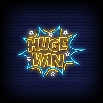 Huge win neon signs style text
