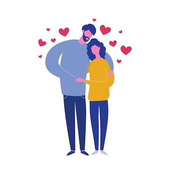 ボーイフレンドとガールフレンドの心と白い背景で隔離を抱き締めます。愛好家のバレンタインデーカード。愛を抱きしめるかわいいロマンチックなカップル。フラットな漫画のスタイルで