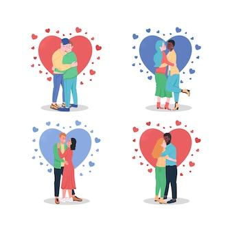 愛のカップルを抱き締めるフラットカラー詳細文字セットイラスト分離