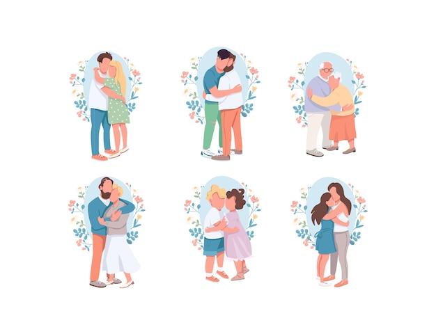 フラットカラーの顔のない文字セットを抱き締めます。幸せな親戚。別のかわいいカップル。弟と妹。ロマンチックなデート。白い背景の上の家族の孤立した漫画イラスト
