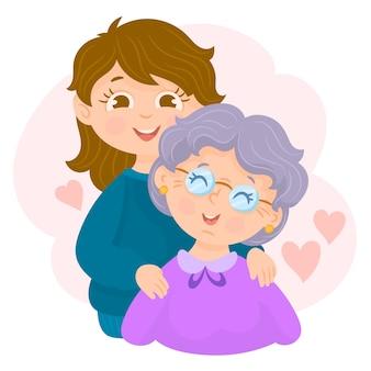 사랑으로 포옹 할머니