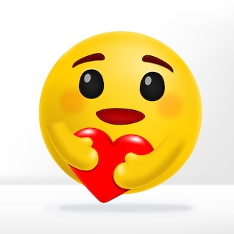 Hugging heart & smiling care emotion social media reaction 3d illustration