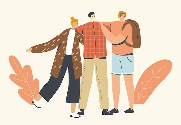 포옹, 친구 개념과 포옹. 다양한 다인종 남성과 여성 캐릭터가 나란히 서서 서로 껴안고 있습니다.