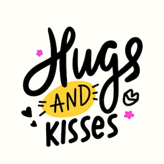 Hugs and kisses banner with hand drawn lips, stars and hearts. cute lettering with doodle design elements. love or friendship world day, t-shirt print isolated on white background. vector illustration