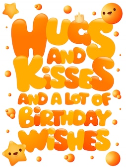 Hugs and kisses happy birthday emoji concept greeting card, lettering