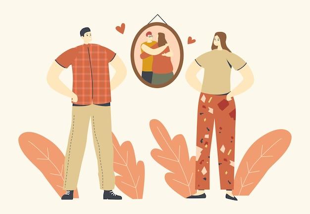 Объятия, теплые объятия, концепция любви. персонажи мужского и женского пола стоят перед картиной на стене с обнимающимися людьми или родителями