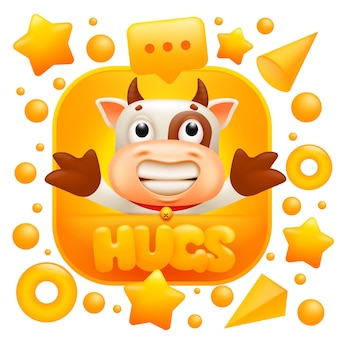 Hugs web sticker. cow emoji character in 3d cartoon style.