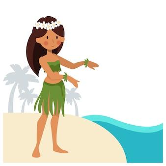 해변에서 훌라 댄스 소녀입니다.