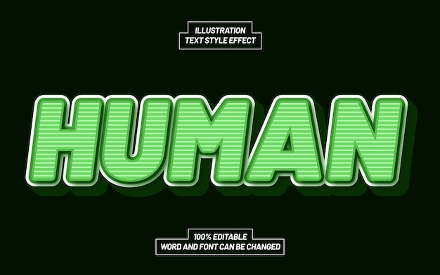 Human 3d bold text style effect