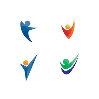 인간과 사람 로고 디자인 커뮤니티 케어 아이콘 및 벡터 그룹
