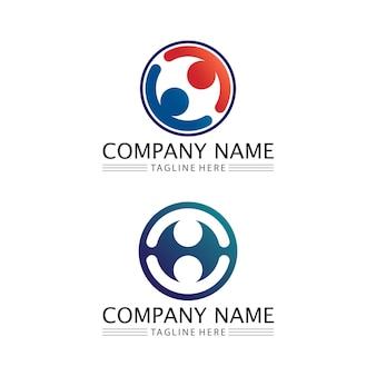 人間と人のロゴデザインコミュニティケアアイコンとベクターグループ