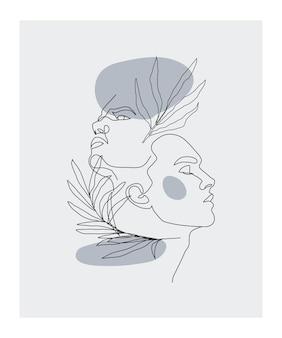 인간과 식물의 현대적인 인테리어 포스터