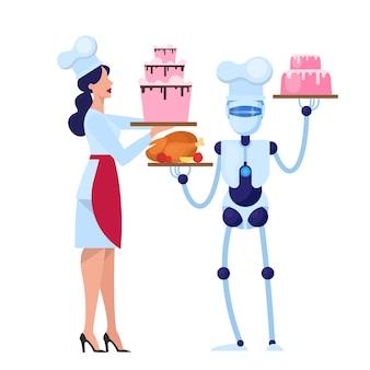 人間とロボットのシェフがキッチンでおいしいケーキを調理します。食品産業におけるサイボーグ。機械技術。図