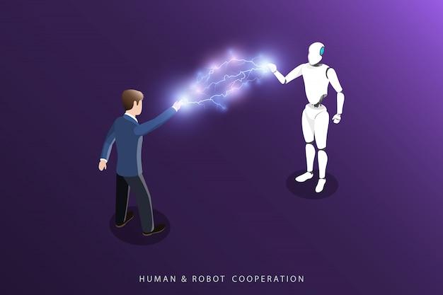 Человек и робот сотрудничество плоский изометрические вектор.