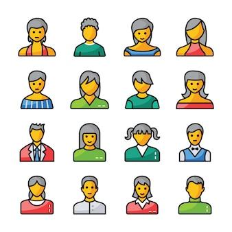 Human avatars flat icons