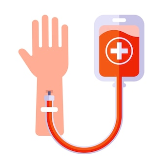 Human blood transfusion icon. make an injection in the arm.