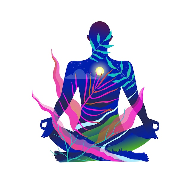 Человеческое тело сидит в позе лотоса, медитируя на природе