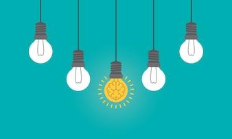 Human brain as light bulb lamp
