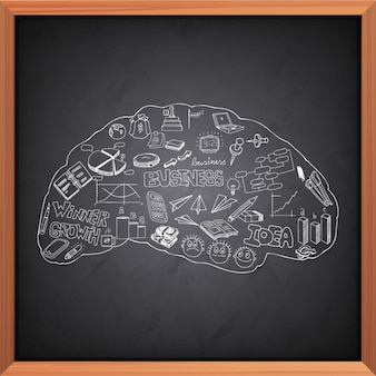 Human brain background with business objects