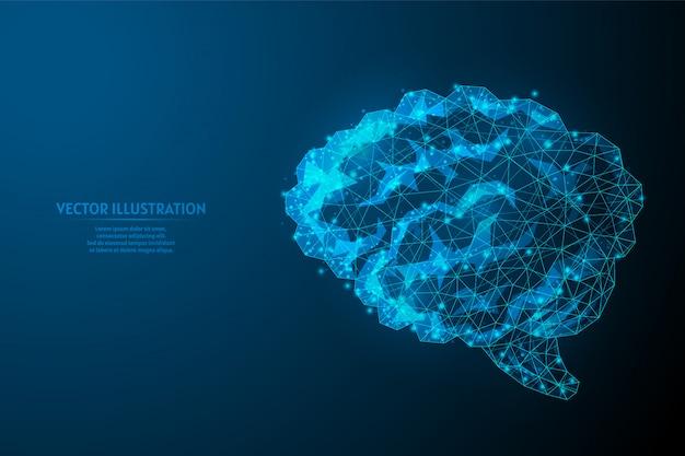 Человеческий мозг крупным планом. органная анатомия. инфракрасный компьютерный разум, нейроны, искусственный интеллект, креативная идея. инновационная медицина и технологии. низкая поли каркасная иллюстрация 3d.