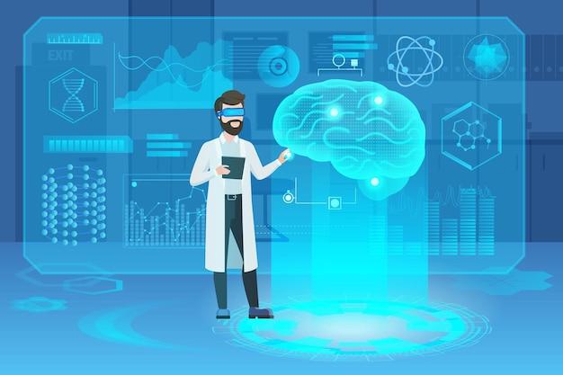 Футуристическая медицинская голограмма человеческого мозга с персонажем доктора-ученого