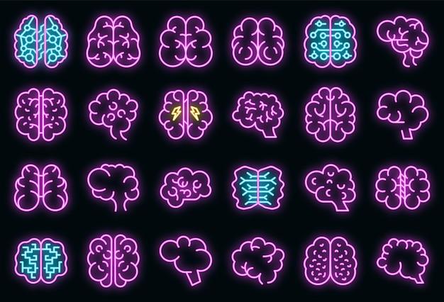 Human brain icons set. outline set of human brain vector icons neon color on black