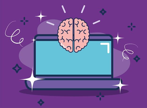 Human brain and laptop brainstorm concept