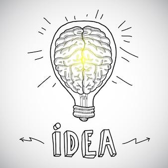 Human brain in lightbulb sketch