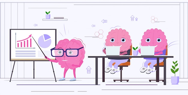 Human brain making financial presentation training or conference report to colleagues pink cartoon characters horizontal sketch