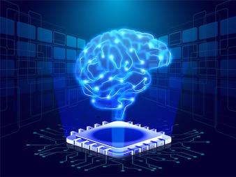 Human brain on digital emerging rays