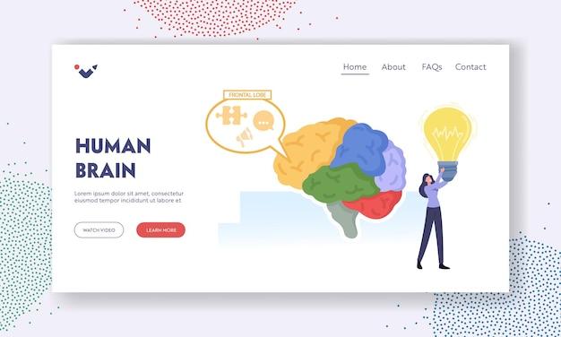 인간의 뇌 부품 해부학 방문 페이지 템플릿입니다. 거대한 인간 두뇌에 전구가 있는 작은 여성 캐릭터가 부품으로 분리되어 있고 전두엽, 지능, 창의력이 작동합니다. 만화 벡터 일러스트 레이 션