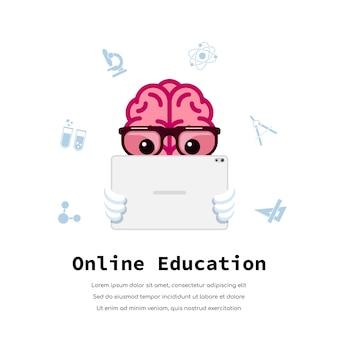 Человеческий мозг смотрит образовательное видео на планшете