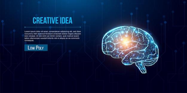 人間の脳。ワイヤーフレーム低ポリスタイル。輝く低ポリ脳とビジネスアイデアのコンセプト。紺色の背景に抽象的なモダンな3dベクトルイラスト。