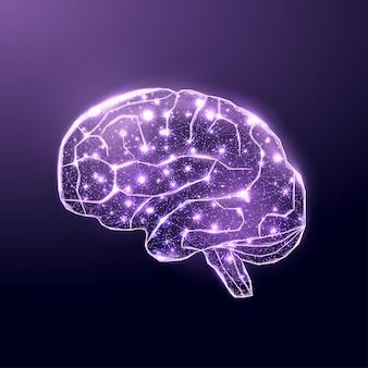 Человеческий мозг. каркасный стиль низкой поли. концепция медицины, рака мозга, нейронной сети. абстрактные современные 3d векторные иллюстрации на синем фоне.