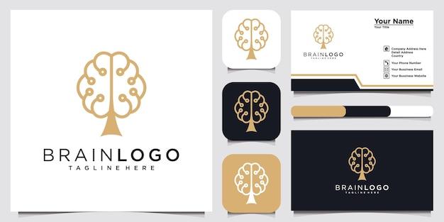 Человеческий мозг с логотипом иллюстрации значков дерева и шаблоном дизайна визитной карточки