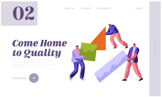 Human builder 건설 색상 홈 방문 페이지. 프로세스 작업에있는 남자. 사람들은 건축 작업을 위해 새 부품 재료를 휴대합니다. 웹 사이트 또는 웹 페이지 플랫 만화 벡터 일러스트 레이션을위한 무대 프로젝트 빌딩