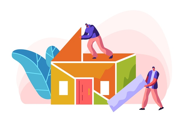인간 빌더 건설 색상 홈. 집에서 프로세스 설치 지붕에 남자. 사람 감독이 건축 작업을 위해 새 부품 재료를 휴대합니다. 무대 프로젝트 빌딩. 플랫 만화 벡터 일러스트 레이션