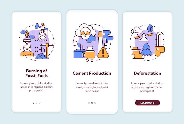 人間の炭素排出は、概念を備えたオンボーディングモバイルアプリページ画面を引き起こします